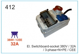El. Switchboard-socket 380V  32А, 3-phase+N+PE, CEE