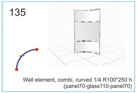 Wall element, combi, curved  R100x250 h