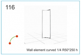 Wall element curved  R50x250 h