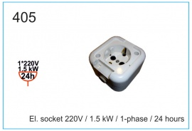El. socket 220V , 1.5 kW , 1-phase , 24 hours