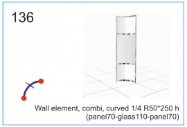 Wall element, combi, curved  R50x250 h