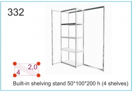 Built-in shelving stand 50x100x200h (4 shelves)