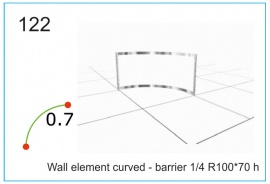 Wall element curved - barrier ¼  R100x70 h см