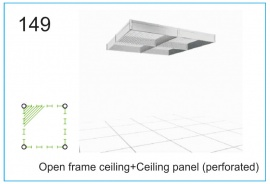 Open frame ceiling+Ceiling panel (perforated)
