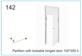Partition with lockable hinged door 100x200 h