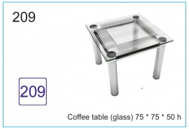Coffee table (glass) 75 x 75 x 50 h