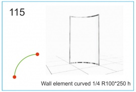 Wall element curved  R100x250 h