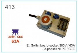 El. Switchboard-socket 380V  63А, 3-phase+N+PE, CEE