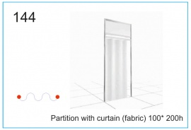 Partition with curtain (fabric) 100x200h