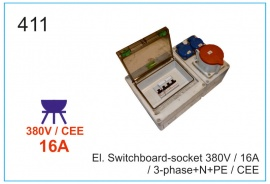 El. Switchboard-socket 380V 16А, 3-phase+N+PE, CEE