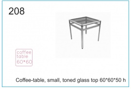 Coffee-table, small, toned glass top 60x60x50 h