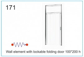 Wall element with lockable folding door 100x200 h