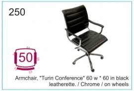 "Armchair, ""Turin Conference"" 60w x 60  black leatherette., chrome, wheels"