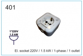 El. socket 220V , 1.5 kW , 1-phase , 1 outlet