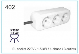 El. socket 220V , 1.5 kW , 1-phase , 3 outlets